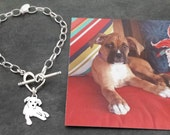Custom TaGette Charm Chain Bracelet .. Boxer Sterling Silver Pet Portrait Dog silhouette Jewelry Memorialize Keepsake, Mothers Day