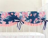 Coral and Navy Baby Girl Crib Rail Cover, Stripe and Floral, Coral and Navy Nursery, Bumperless crib bedding, Peach Crib Set, Navy Stripe