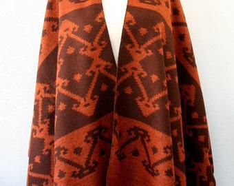 Rust orange and brown aztec poncho southwestern poncho native clothing tribal poncho ethnic wrap boho cardigan bohemian cape christmas gift