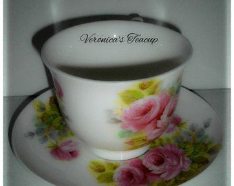 Personalised Vintage Floral Style, Boxed Fine Bone China Teacup and Saucer
