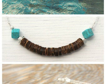 Summer Party Tribal Necklace Beach Womens Fashion Rustic Coconut Beads Turquoise Cubes Sterling Silver Chain Bohemian Gypsy Ethnic Native