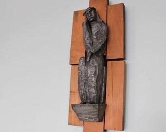 Vintage Mid Century Modernist Hand Carved Wood Folk Art Jesus Sculpture Wall Hanging