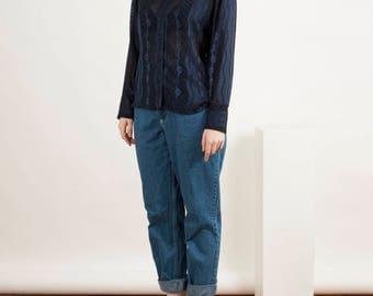 Transparent Navy Blouse / Detailled Long Sleeve Blouse / Dark Blue Mesh Shirt