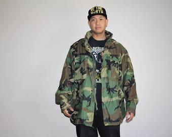 Men's Vintage 90s U.S. Army Camo Oversized Grunge Military Jacket - 1990s Vintage Kayne West Style Army Jackets - MV0001