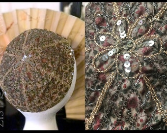 RARE French 1920s Beaded Skull Cap. Floral Print Shot with Metallic thread, embroidered Bead & Sequin Flowers. Made In France. Jazz Age