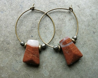 Rustic Red Jasper Earrings, Bohemian wire hoop earrings with asymmetrical rust red brick red brecciated jasper drops