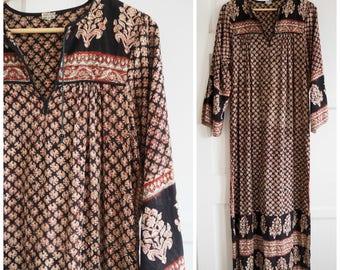 1970s Indian batik print dress