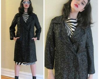 Vintage 1960s  Coat in Metallic Black Lurex / 60s Button Down Mod Glam Coat / Large