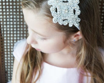 Silver Rhinestone Headband Headpiece Prom Wedding Bridal Bride Bridesmaid Flower Girl ELOISE Hairpiece Crown Tiara Ribbon Customizable
