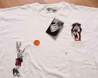 NWT Bugs Bunny & Taz Basketball Pocket T-Shirt, Hip Hop, Vintage 90s, Looney Tunes, WB, Embroidered