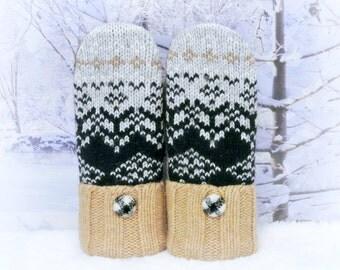 Fair Isle Black, Light Gray & Tan Women's Recycled Sweater Mittens