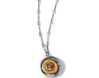 Tri Color Sterling Silver Double Circle Pendant Necklace
