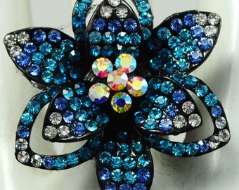 Blue Ombre Floral Ring/Rhinestone/Spring/Summer Jewelry/Wedding Jewelry/Gift For Her/Under 15 USD
