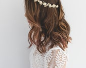 cream gold rose, leaf & berry flower crown // cream gold leaf crown / cream gold flower crown / cream gold / wedding gold flower crown