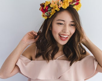 autumn mix statement flower crown // Hazel / yellow brown white red cream floral headpiece, bright vibrant blooms, unique
