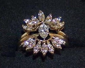 14K 1.39Ct Marquise Diamond Solitaire 2 Ring Set Solitaire Enhancer