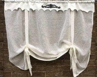 Linen Valance, Ivory Sheer Bedroom Tie Up Shade, Kitchen Window Topper Bathroom Privacy European Decor