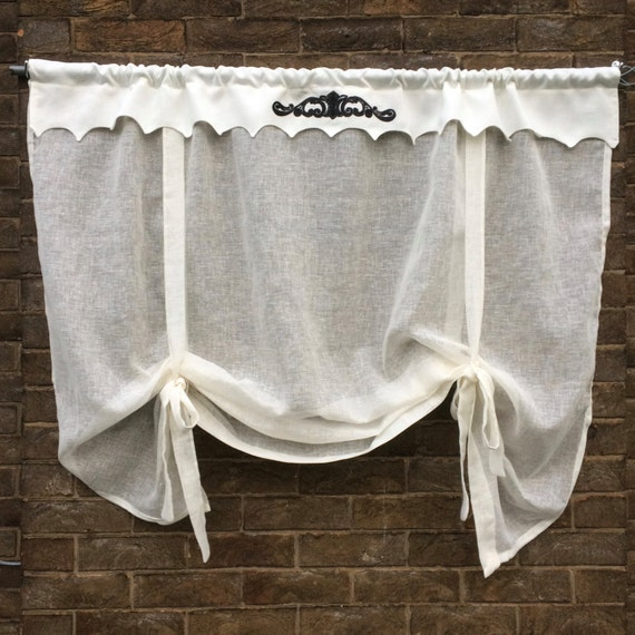 Linen Valance Ivory Sheer Bedroom Tie Up Shade Kitchen