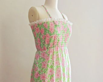 1960's Liza by Lilly Pulitzer Cotton Floral Maxi Dress // Lilly Pulitzer Pink and Green // Summer Floral Dress // Size Medium