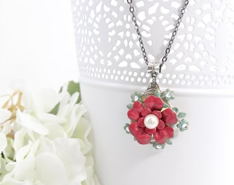 Pink Flower Jewelry Necklace – Rose Necklace Pendant – Bohemian Flower Fashion Necklace – Unique Jewelry Necklaces for Women - SF25