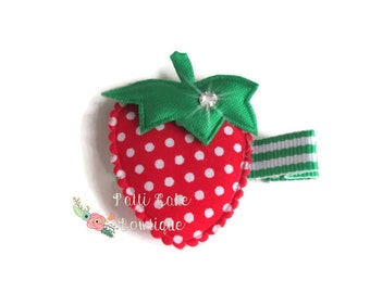 Strawberry Hair Clip for Pigtails/1st Birthday Gift/Baby Girl Hairclips/Strawberry Shortcake Barrette/Baby Hair Clips/Toddler Hair Clips