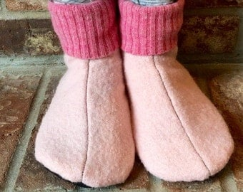 Waldorf Wool Slippers, Kid's Large, Grippy Bottoms, Shoe Size 13.5 to 2.5,  Age 6.5  to 8.5 years, Pink, Ready to Ship
