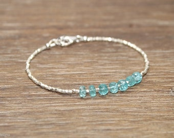Apatite Bracelet, Hill Tribe Silver, Pure Silver, Apatite Jewelry, Gemstone Bracelet, Gifts for her