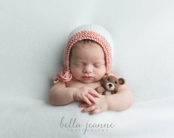 Ready to Ship Pink and White Knit Bonnet - Newborn Photography Prop
