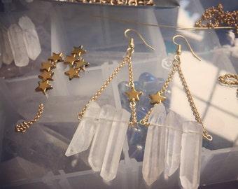 Quartz Earrings >> gold star earrings, quartz star earrings, shooting star earrings, quartz drop earrings, valentines gifts, galentines gift