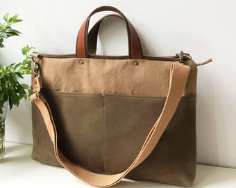 Macbook or Laptop bag with cotton mix leather handles and  detachable shoulder strap