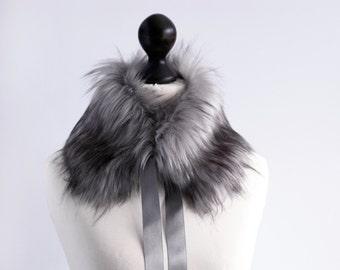 Faux fur collar in grey. Fur neck warmer. Womens fur collar. Fur scarf. Christmas gift. Grey fake fur collar with satin ribbon. Fur scarf.