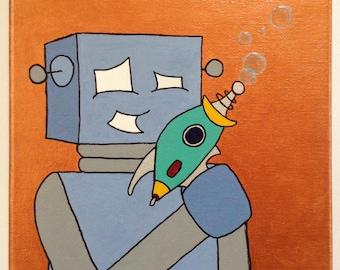 Robot of Leisure: Boris and the Bubble Ray - original artwork - acrylic on canvas