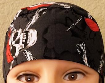 Pirate Skulls w Crossbones Skull Cap or Chemo Cap, Hat, Hair Loss, Bald, Do Rag, Halloween, Motorcycle, Head Wrap, Handmade, Alopecia, Caps