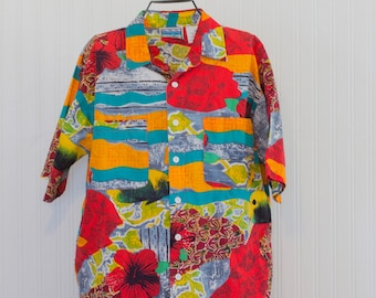 Vintage Mens Shirt, Retro Luau Mans Catalina button down Island Life, Retro Hawaiian Size Medium, Tropical Party Shirt