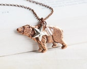 Woodland Bear Necklace, Bear Charm Necklace on Antiqued Copper Plated Chain, Clear Quartz, Silver Star, Rustic Jewelry, Animal Jewelry