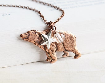 Rustic Woodland Bear Charm Necklace on Antiqued Copper Plated Chain