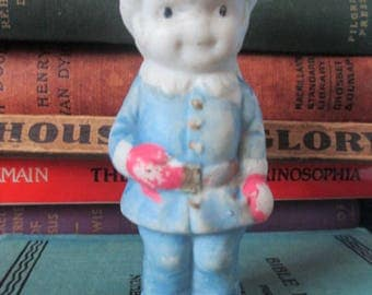 MINIATURE BISQUE FIGURE - Japan Boy with Red Gloves  -  Antique Vintage Mini for Collecting or Altered Art Projects