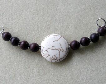Howlite Pendant and Beads, DIY Jewelry Kit,  Focal Beads, Gemstone Beads, Jewelry Making Beads, Beaded Centerpiece, Starter Kit,  Crafts
