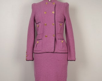 Adolfo Luxury Wool Knit Suit Jackie Kennedy Magenta Pink Suit Boucle Pencil Skirt Jacket gold buttons 80s does 60s Lavender Ladies Suit XS