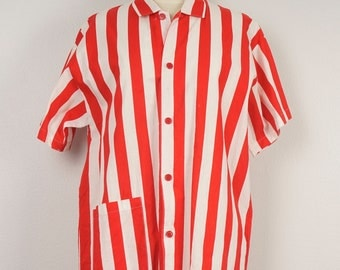 red and white wide striped oversized cotton top short sleeve boxy blouse Large Lily Mate for Lyce