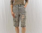 Vintage Acid Washed Thrashed Shorts, Size Small, Grunge, 90's Clothing, Skater, Knee Length Shorts, Tumblr Clothing, Distressed Shorts