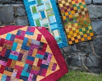 Table Runner Pattern - Third Time's A Charm Pattern - Quilted Table Runner Pattern - Charm Pack Quilt Pattern -  Free Shipping US