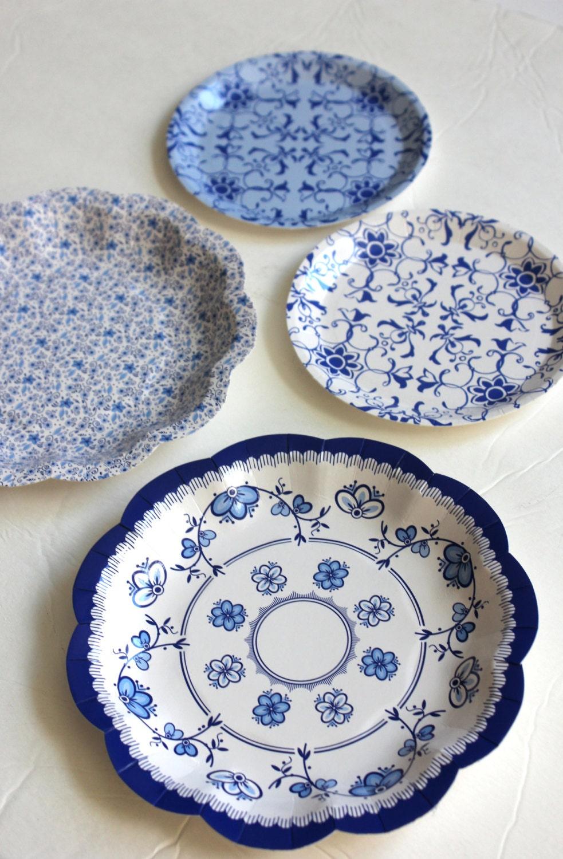 $6.99 & Sale 12 FLORAL TEA PARTY Mini Paper Plates Blue White Porcelain ...