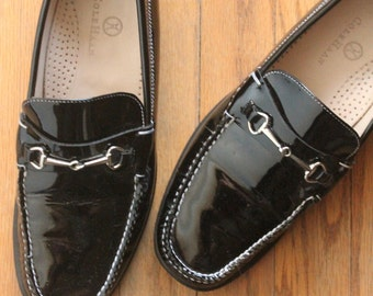 Vintage 90's Black Patent Leather Penny Loafer Flat Slips Ons by Cole Haan, size 7 1/2 B