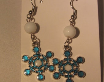 Light Blue and White Snowflake Earrings