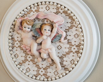 Handmade Round Cherub Picture on Vintage Lace with Faux Pearls Wall Hanging Nursery Decor