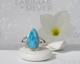 Larimar ring size 5.75 by Larimarandsilver, Night Drop 1 - electric blue Larimar pear, turtleback, japan size 11, handcrafted Larimar ring