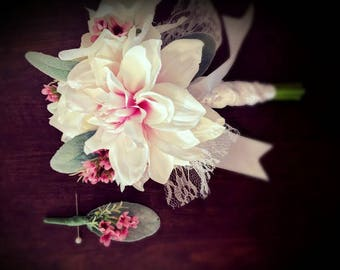 Bouquet and Boutonniere Set - Elope Wedding - Petite Bouquet - READY TO SHIP - Dahlia Bouquet - White and Pink - Lambs Ear - Lace Bouquet