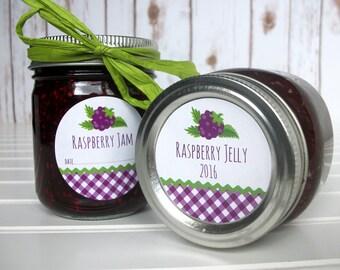 Gingham Black Raspberry canning labels, round mason jar labels, fruit canning labels, jelly jam jar labels, preserves, cottage chic