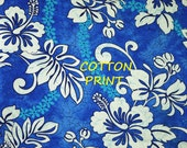 1 YARD, QUILT COTTON, Blue Hawaiian Floral Print Fabric, Trendtex, White Hibiscus, B10